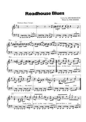 Thumbnail of first page of Roadhouse Blues piano sheet music PDF by The Doors.