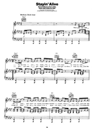 Thumbnail of first page of Stayin Alive piano sheet music PDF by Bee Gees.