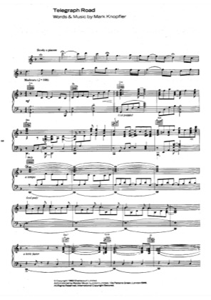 Thumbnail of first page of Telegraph Road piano sheet music PDF by Dire Straits.
