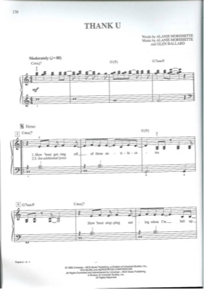 Thumbnail of first page of Thank You piano sheet music PDF by Alanis Morisette.