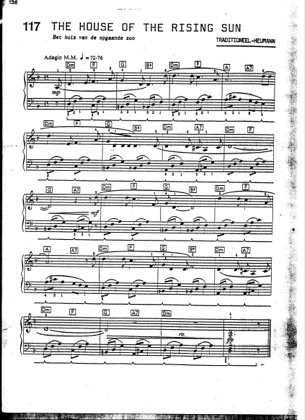Thumbnail of first page of The House Of Rising Sun piano sheet music PDF by The Animals.