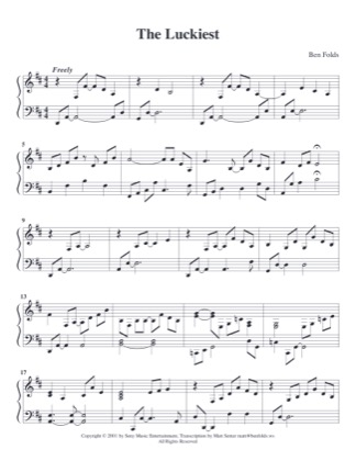 Thumbnail of first page of The Luckiest (2) piano sheet music PDF by Ben Folds.