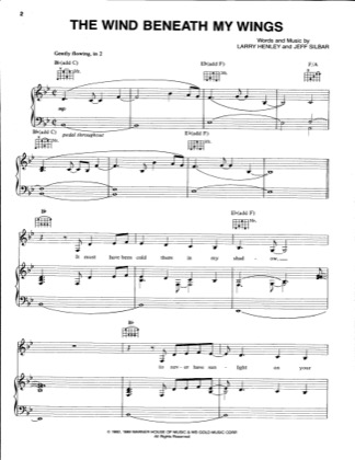 Print and download for free: The Wind Beneath My Wings piano sheet music by Bette Midler.
