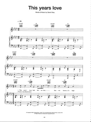Thumbnail of first page of This Years Love piano sheet music PDF by David Gray.