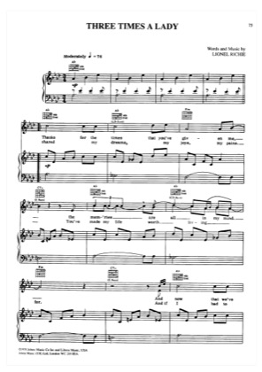 Three Times A Lady By Lionel Richie Piano Sheet Music Sheetdownload