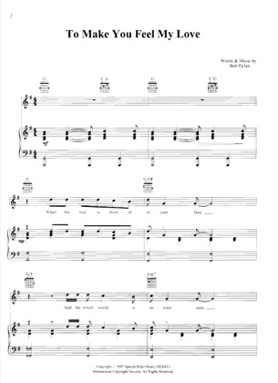 Thumbnail of first page of To Make You Feel My Love piano sheet music PDF by Bob Dylan.