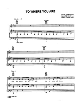 Thumbnail of first page of To Where You Are piano sheet music PDF by Richard Marx.