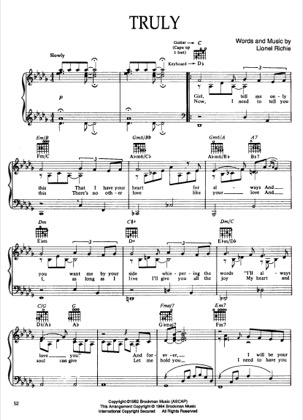 Thumbnail of first page of Truly piano sheet music PDF by Lionel Richie.