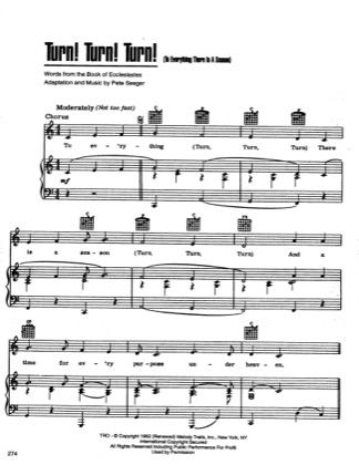 Thumbnail of first page of Turn Turn Turn piano sheet music PDF by The Byrds.