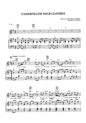 Thumbnail of first page of Underneath Your Clothes piano sheet music PDF by Shakira.
