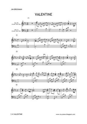 Thumbnail of first page of Valentine piano sheet music PDF by Jim Brickman .