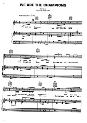 Print and download for free: We Are The Champions piano sheet music by Queen.