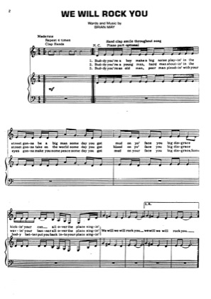 Thumbnail of first page of We Will Rock You piano sheet music PDF by Queen.