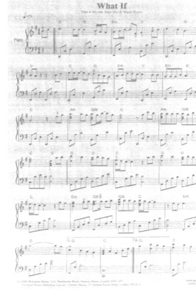 Thumbnail of first page of What If piano sheet music PDF by Kate Winslet.