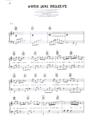 Thumbnail of first page of When You Believe (2) piano sheet music PDF by Mariah Carey & Whitney Houston.