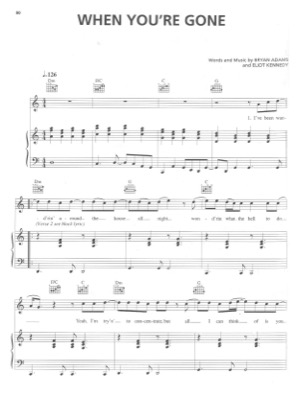 Thumbnail of first page of When You're Gone piano sheet music PDF by Bryan Adams & Mel C.