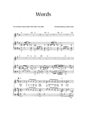 Thumbnail of first page of Words piano sheet music PDF by Bee Gees.