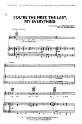 Thumbnail of first page of You Are The First, The Last, My Everything piano sheet music PDF by Barry White.