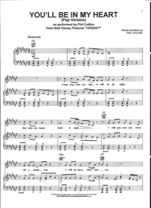 Thumbnail of first page of You'll Be In My Heart piano sheet music PDF by Phil Collins.