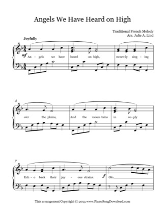 Thumbnail of first page of Angels We Have Heard on High piano sheet music PDF by Christmas.
