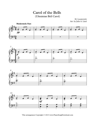 Thumbnail of first page of Carol of the Bells piano sheet music PDF by Christmas.