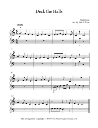 Thumbnail of first page of Deck the Halls piano sheet music PDF by Christmas.