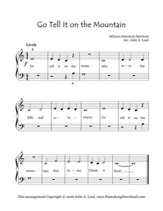 Thumbnail of first page of Go Tell It On The Mountain (Lvl 1) piano sheet music PDF by Christmas.
