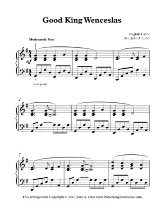 Thumbnail of first page of Good King Wenceslas piano sheet music PDF by Christmas.