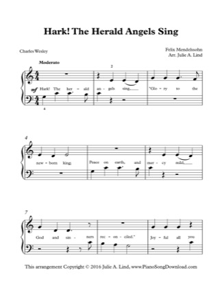 Thumbnail of first page of Hark the Herald Angels Sing piano sheet music PDF by Christmas.