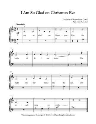Thumbnail of first page of I Am So Glad on Christmas Eve piano sheet music PDF by Christmas.