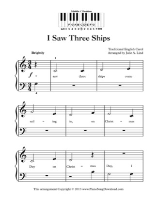 Thumbnail of first page of I Saw Three Ships piano sheet music PDF by Christmas.