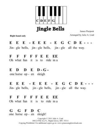 Thumbnail of first page of Jingle Bells (Kids Pre-staff) piano sheet music PDF by Christmas.
