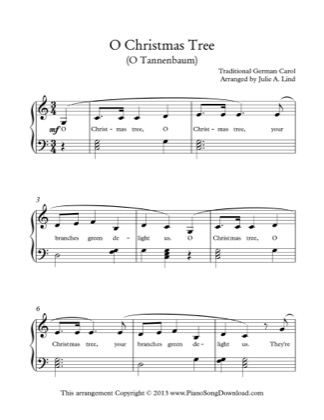 Thumbnail of first page of O Christmas Tree piano sheet music PDF by Christmas.