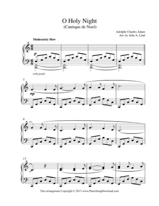 Thumbnail of first page of O Holy Night piano sheet music PDF by Christmas.