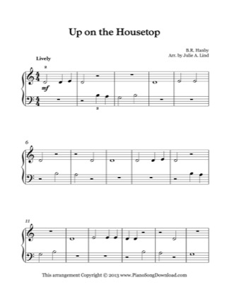 Thumbnail of first page of Up on the Housetop piano sheet music PDF by Christmas.