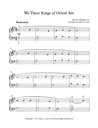 Thumbnail of first page of We Three Kings piano sheet music PDF by Christmas.
