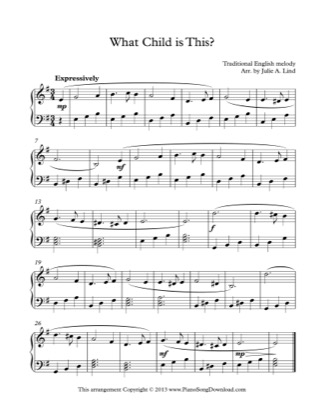 Thumbnail of first page of What Child is This? piano sheet music PDF by Christmas.