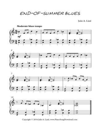 Thumbnail of first page of End Of Summer Blues piano sheet music PDF by Kids (Lvl 3).