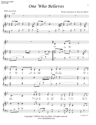 Thumbnail of first page of One Who Believes piano sheet music PDF by Sara Lyn Baril.