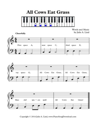 Thumbnail of first page of All Cows Eat Grass (Lvl 1) piano sheet music PDF by Julie Lind.