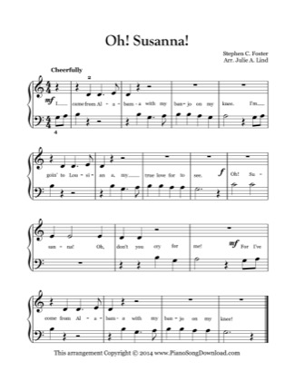 Thumbnail of first page of Oh Susanna! piano sheet music PDF by Kids (Lvl 1).