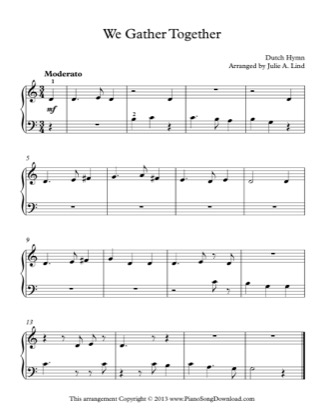 Thumbnail of first page of We Gather Together piano sheet music PDF by Kids (Lvl 1).