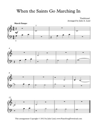 Thumbnail of first page of When The Saints Go Marching In (Lvl 1) piano sheet music PDF by Traditional.
