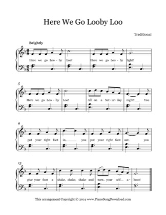 Thumbnail of first page of Here We Go Looby Loo piano sheet music PDF by Kids (Lvl 2).