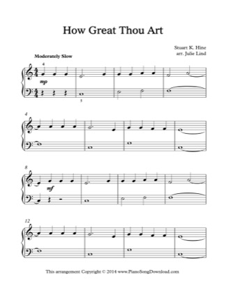 Thumbnail of first page of How Great Thou Art (Lvl 2) piano sheet music PDF by Julie Lind.