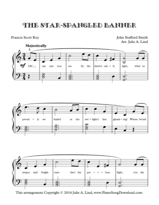 The Star Spangled Banner Lvl 3 National Anthem Free Piano Sheet Music Pdf