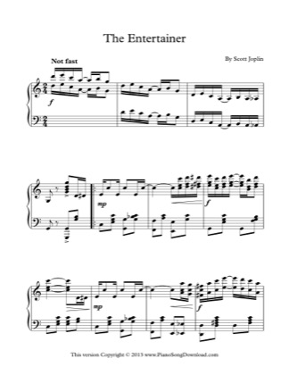 Thumbnail of first page of The Entertainer piano sheet music PDF by Scott Joplin.