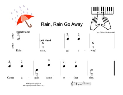 Thumbnail of first page of Rain, Rain Go Away piano sheet music PDF by Kids.