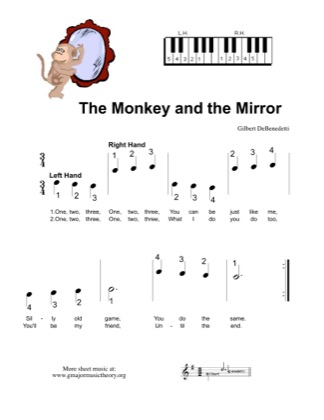 Thumbnail of first page of The Monkey and the Mirror  piano sheet music PDF by Kids.