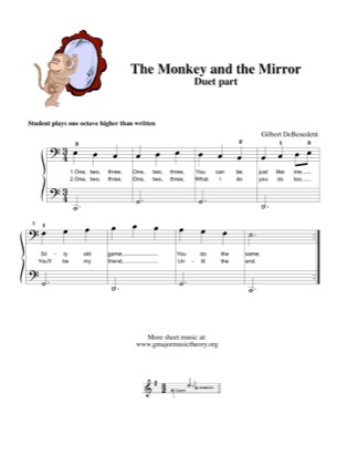 Thumbnail of first page of The Monkey and the Mirror (duet) piano sheet music PDF by Kids.